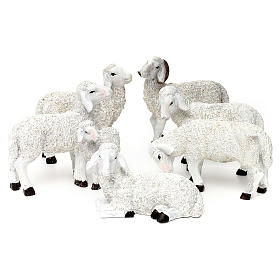 Animals for Nativity Scene: Nativity scene figurines, set of 5 sheep and ram herd in resin for 25-30 cm Nativity scene