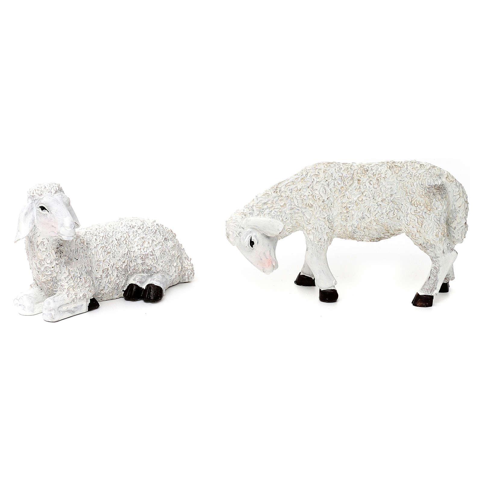 Set 5 Pecore e ariete resina colorata per presepe 25-30 cm 3