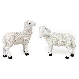 Set 5 Pecore e ariete resina colorata per presepe 25-30 cm s2