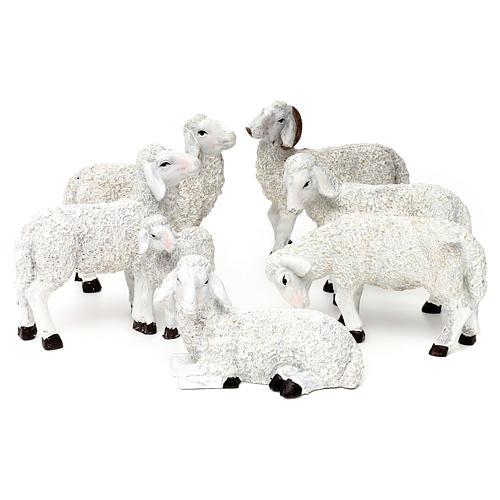 Set 5 Pecore e ariete resina colorata per presepe 25-30 cm 1