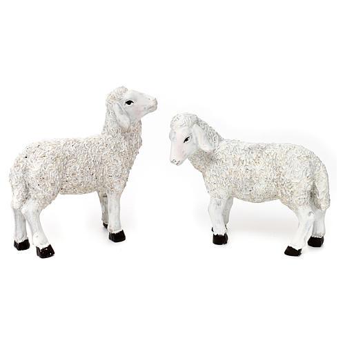 Set 5 Pecore e ariete resina colorata per presepe 25-30 cm 2