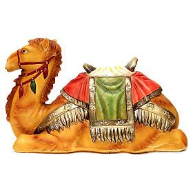 Cammello steso con sella resina colorata per presepe 60 cm s1