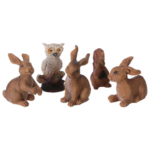 Animali della foresta 5 pezzi per presepe di 11-12 cm 1