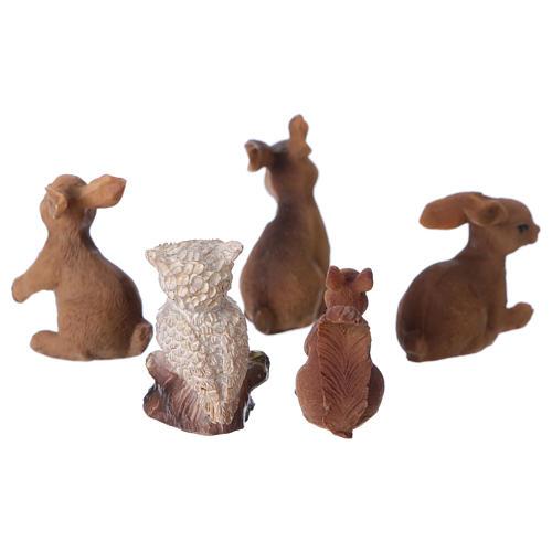 Animali della foresta 5 pezzi per presepe di 11-12 cm 2