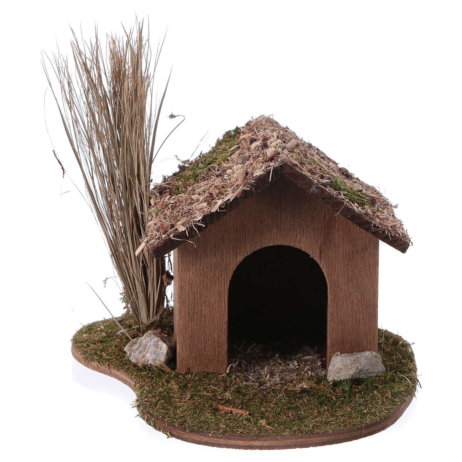 Cuccia cane in legno 9x13x15 cm per presepi di 12-14 cm 3