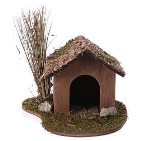 Cuccia cane in legno 9x13x15 cm per presepi di 12-14 cm s1