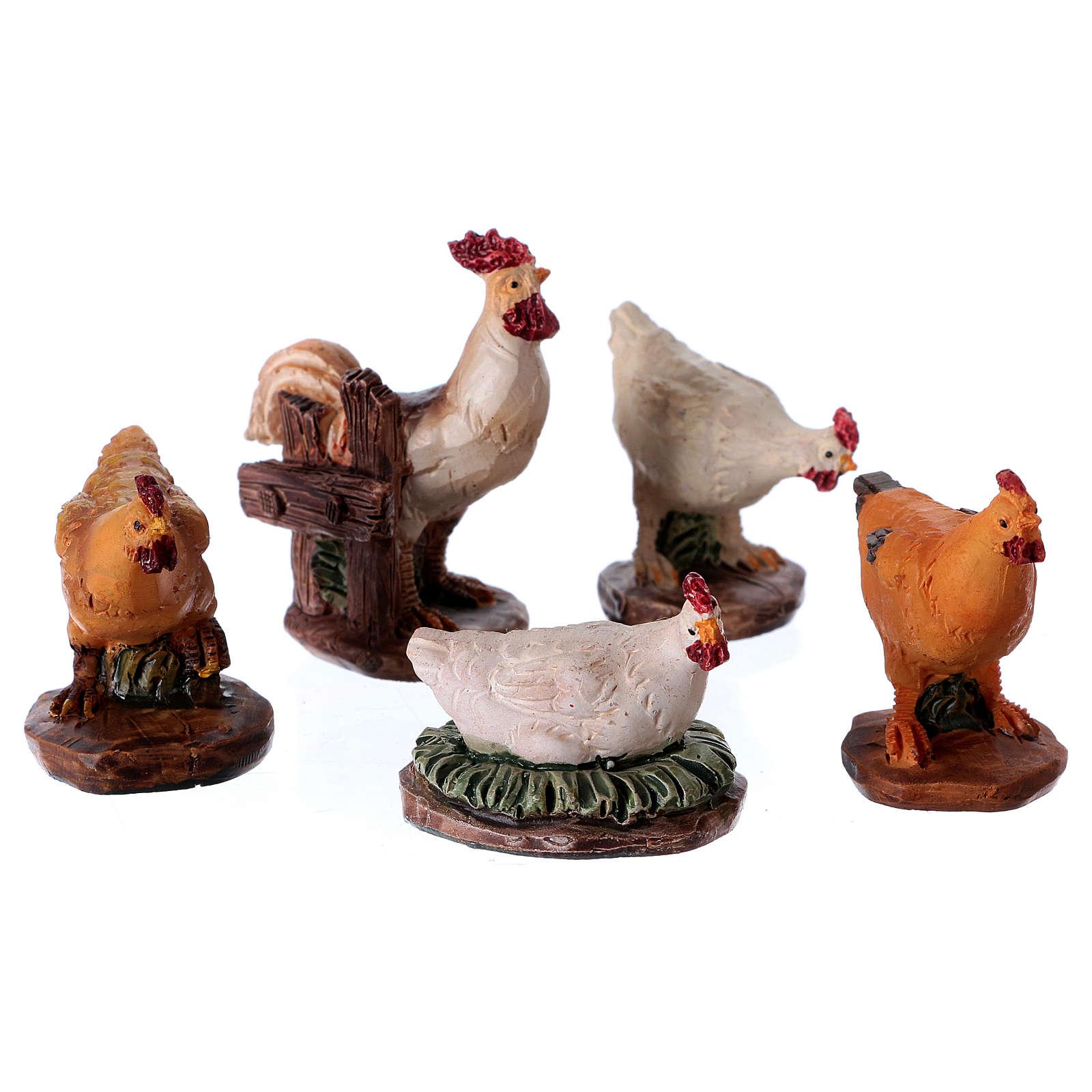 Polli per presepe set 5 pz - 11 cm 3