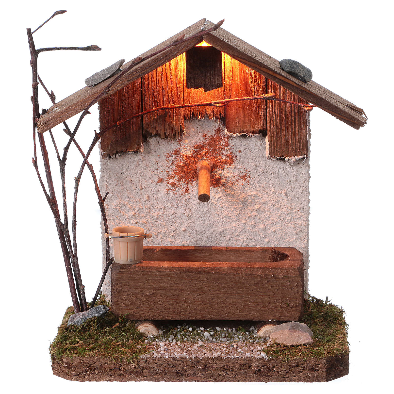 Nordic-style fountain with drinking trough 14x12x8 cm for 8-10cm Nativity Scene 4