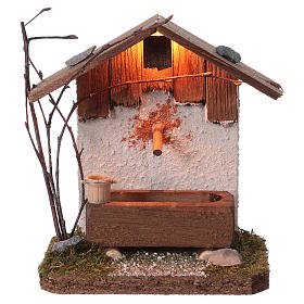 Nordic-style fountain with drinking trough 14x12x8 cm for 8-10cm Nativity Scene s1