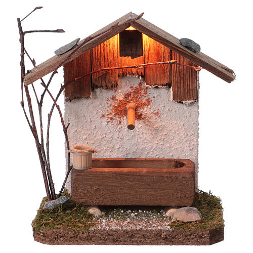 Nordic-style fountain with drinking trough 14x12x8 cm for 8-10cm Nativity Scene 1
