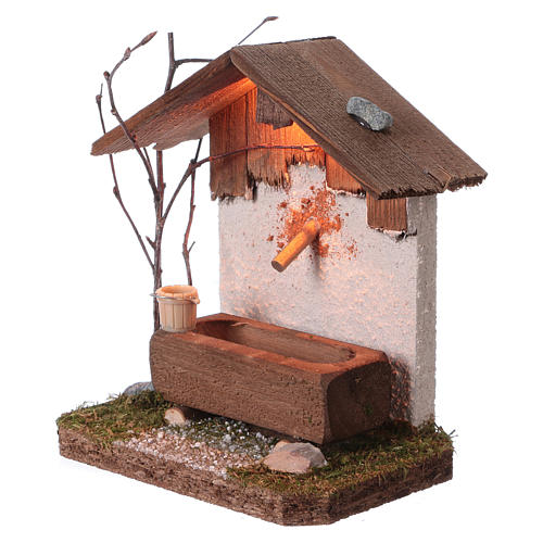 Nordic-style fountain with drinking trough 14x12x8 cm for 8-10cm Nativity Scene 2