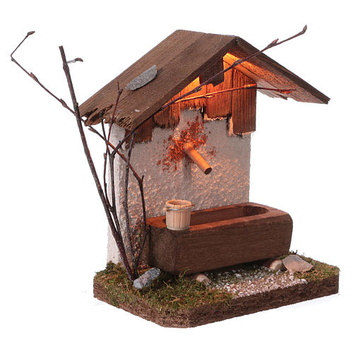 Nordic-style fountain with drinking trough 14x12x8 cm for 8-10cm Nativity Scene 3