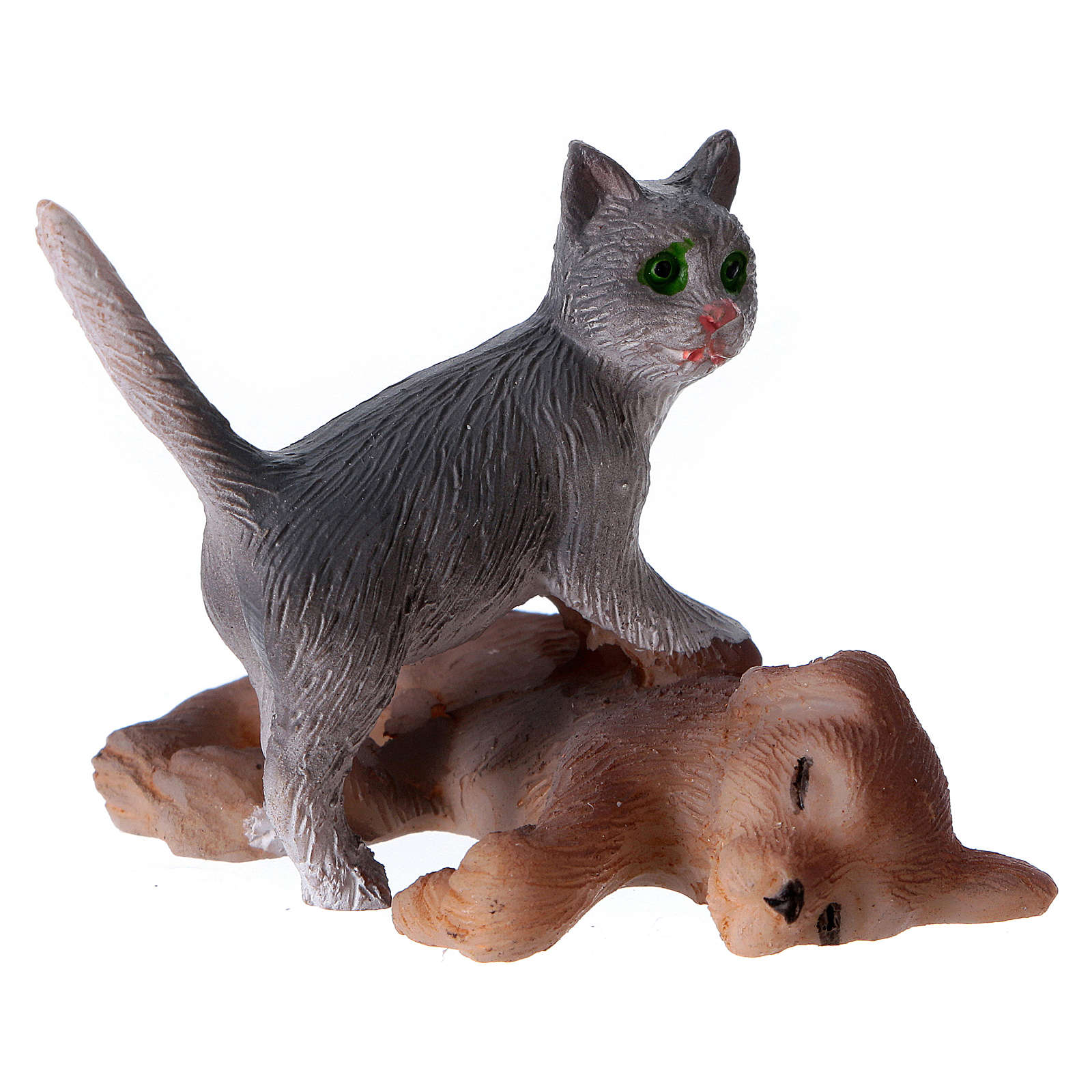 Cão e gato para presépio figuras 11 cm altura média 3
