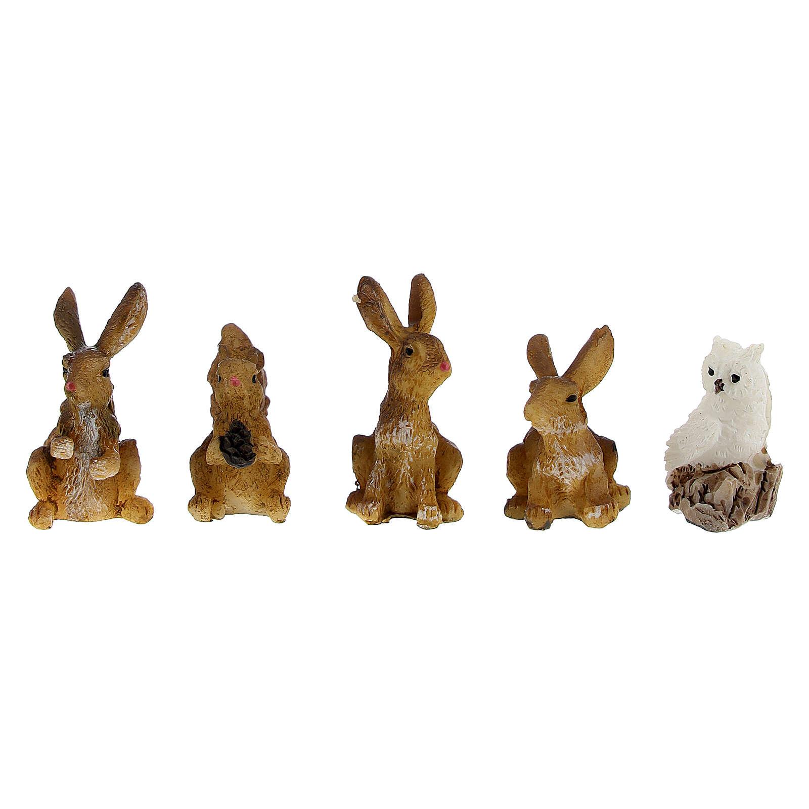 Animali della foresta set 5 pz per presepe di 7 cm 3