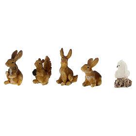 Animali della foresta set 5 pz per presepe di 7 cm s2