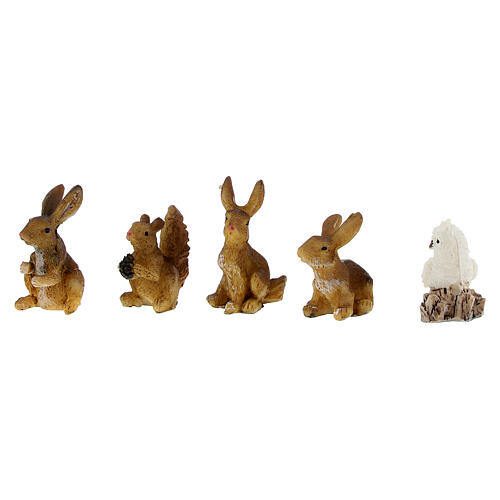 Animali della foresta set 5 pz per presepe di 7 cm 2