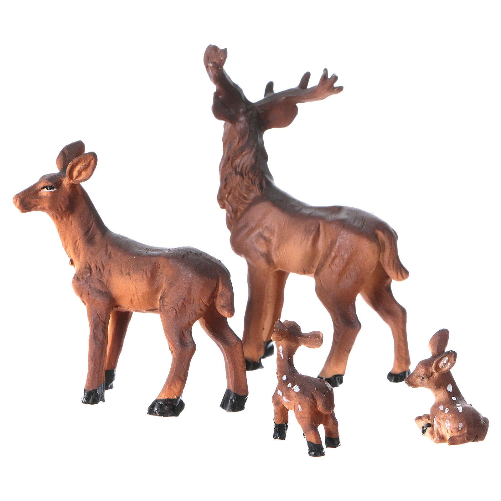 Mangiatoia in stile nordico con famiglia di renne 11x17x13 cm presepe 8 cm 3