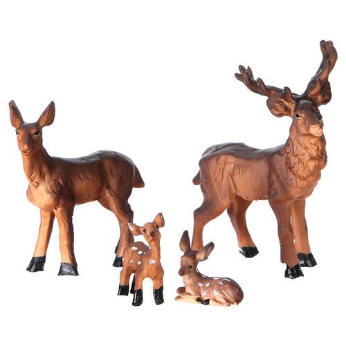 Mangiatoia in stile nordico con famiglia di renne 11x17x13 cm presepe 8 cm 2