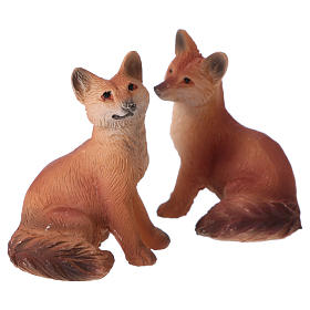 Foxes 2 pieces for 11cm Nativity Scenes s1
