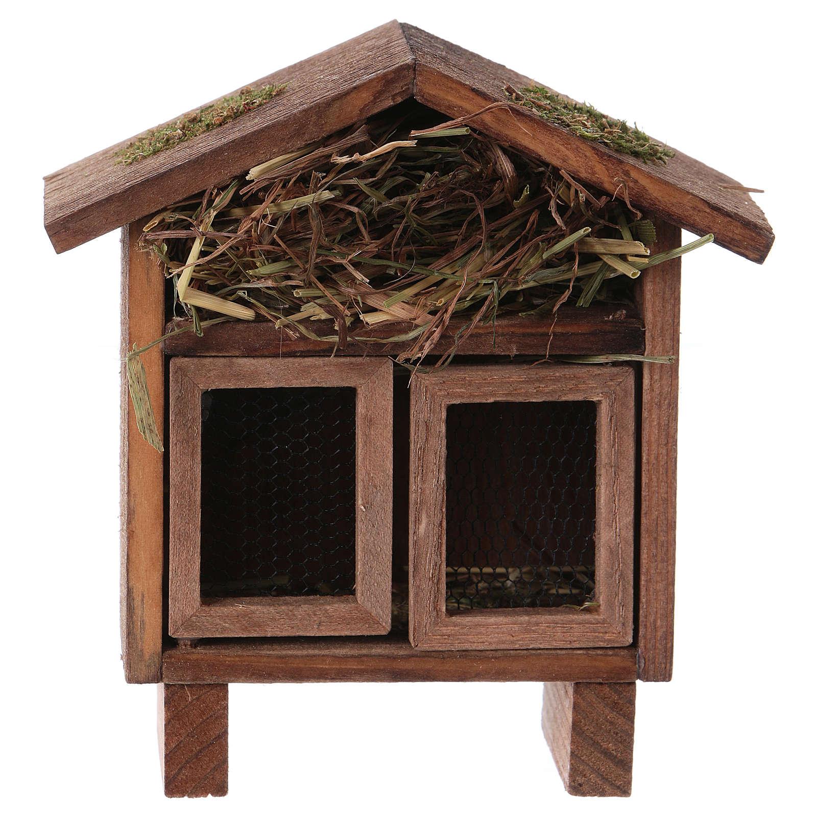 Estructura para gallinas y liebres con pajizo para belenes de 10-12 cm 3