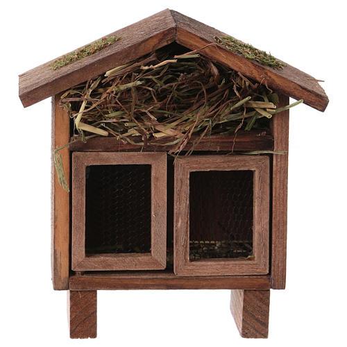 Estructura para gallinas y liebres con pajizo para belenes de 10-12 cm 1