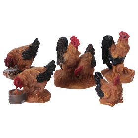 Chickens 5 pieces for 7cm Nativity Scenes s1