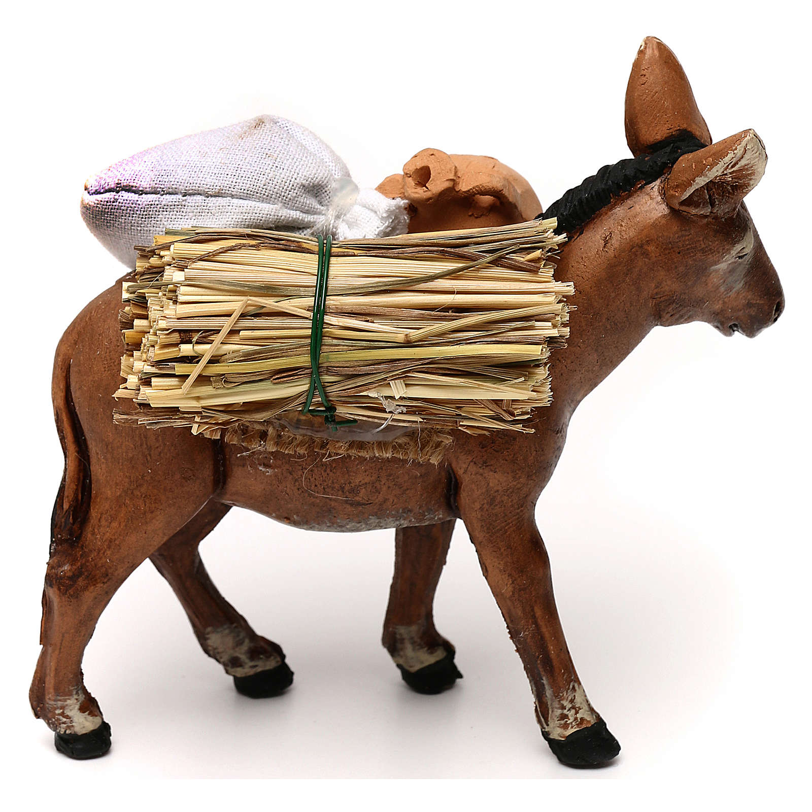 Neapolitan Nativity scene, loaded donkey with jars 8 cm 4