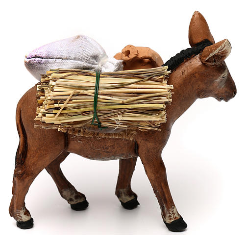 Neapolitan Nativity scene, loaded donkey with jars 8 cm 3