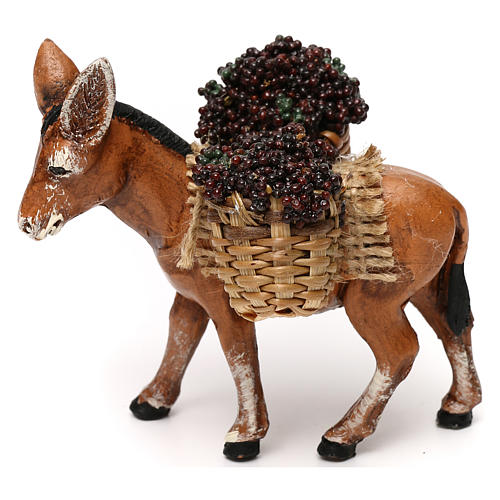 Neapolitan Nativity scene, loaded donkey with grapes baskets 8 cm 1