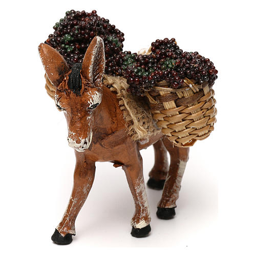 Neapolitan Nativity scene, loaded donkey with grapes baskets 8 cm 2