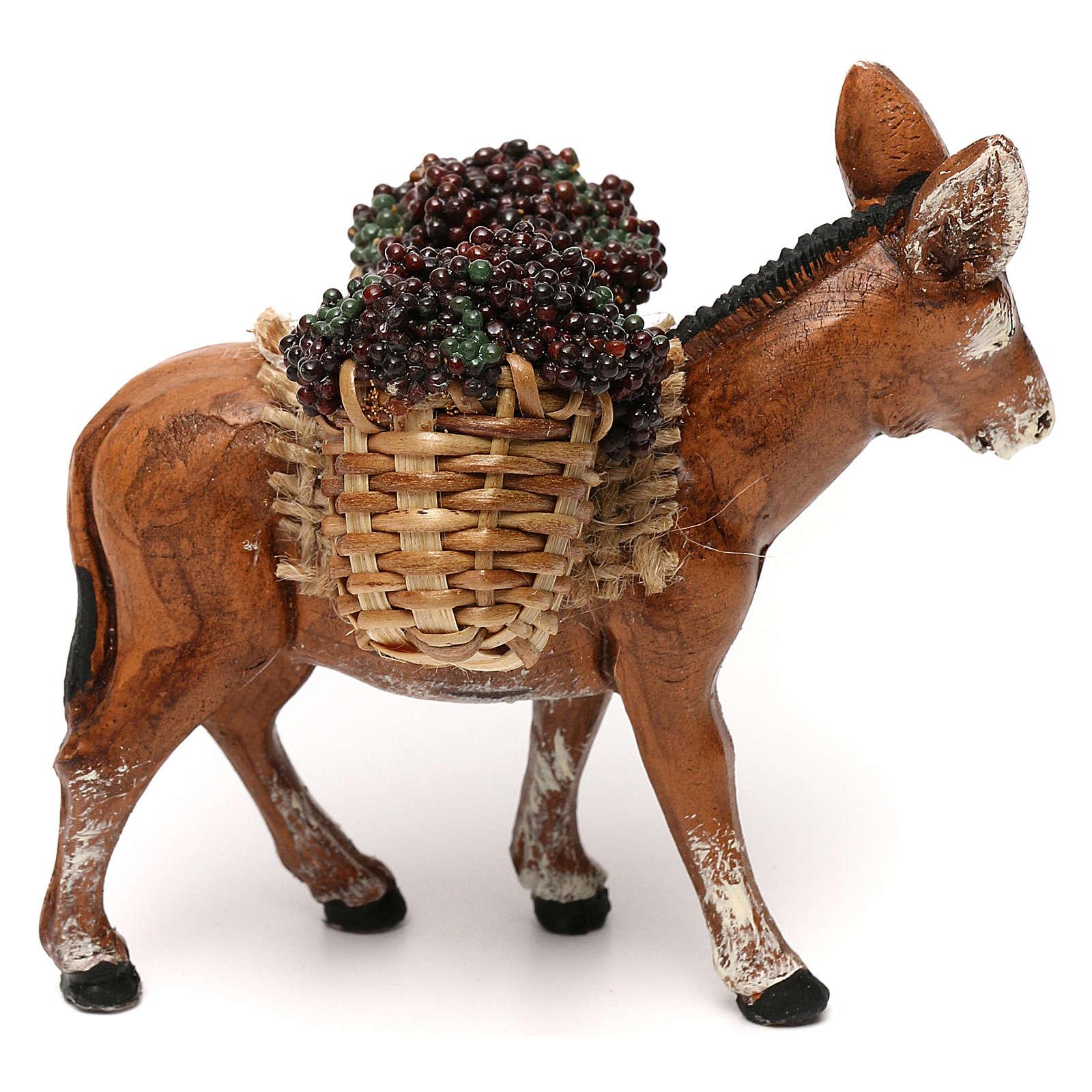 Asino bardato con ceste di uva presepe napoletano 8 cm 4