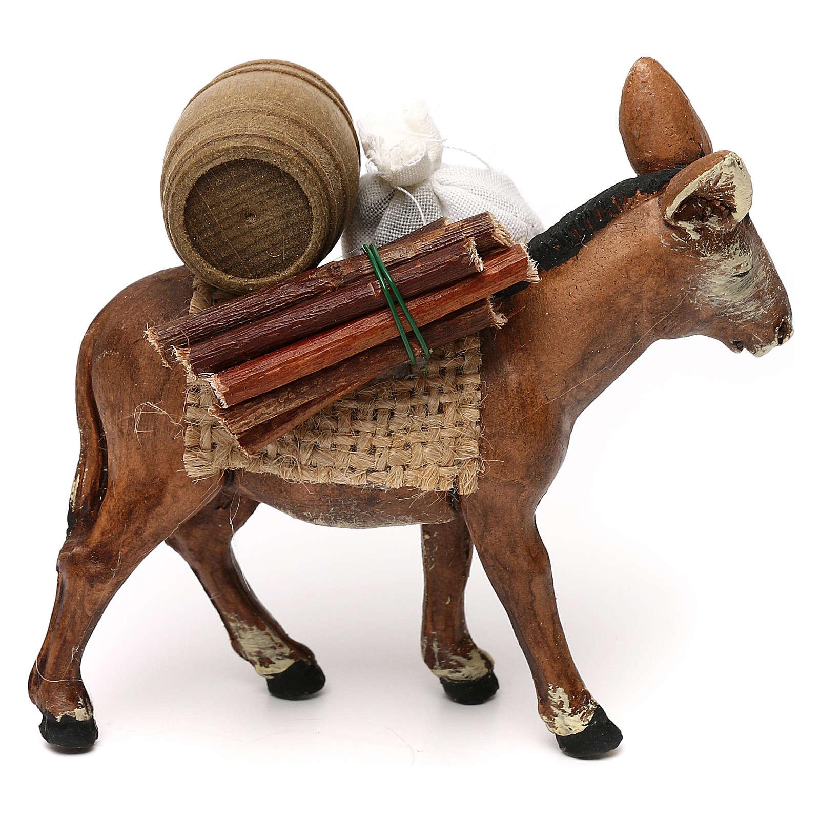 Âne chargé avec tonneau et bois 8 cm crèche napolitaine 4