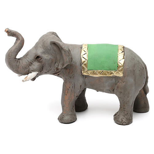 Elefante proboscide alta in terracotta presepe napoletano 6 cm 1