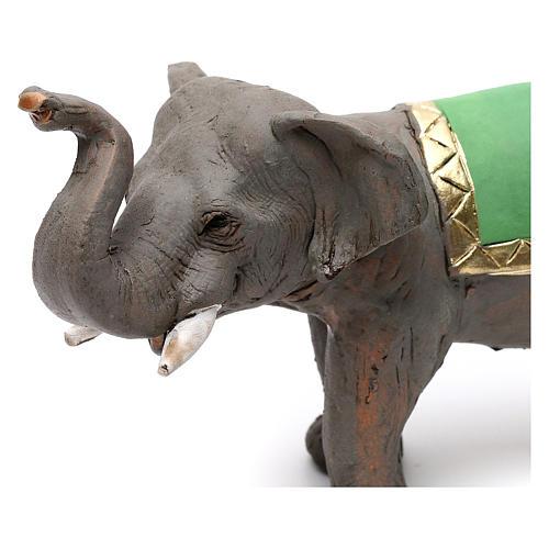 Elefante proboscide alta in terracotta presepe napoletano 6 cm 2