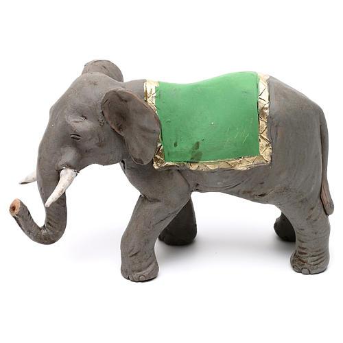 Elefante con sella in terracotta presepe napoletano 8 cm 1