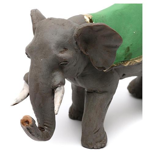Elefante con sella in terracotta presepe napoletano 8 cm 2