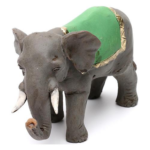Elefante con sella in terracotta presepe napoletano 8 cm 3