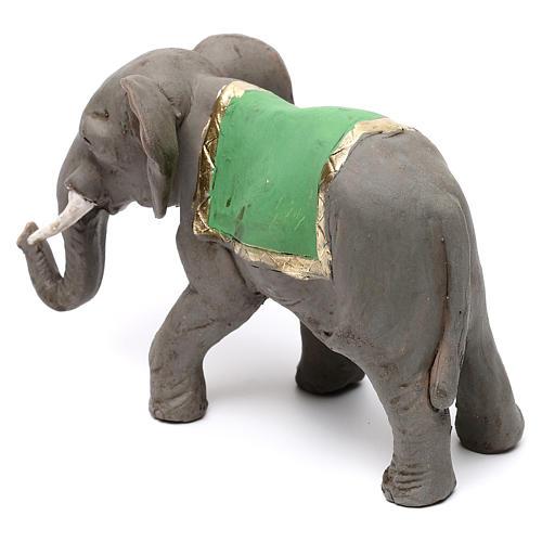 Elefante con sella in terracotta presepe napoletano 8 cm 5