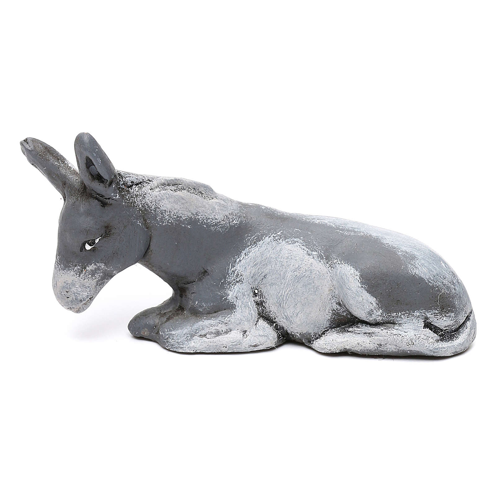 Crouching donkey for Neapolitan Nativity scene 8 cm 4