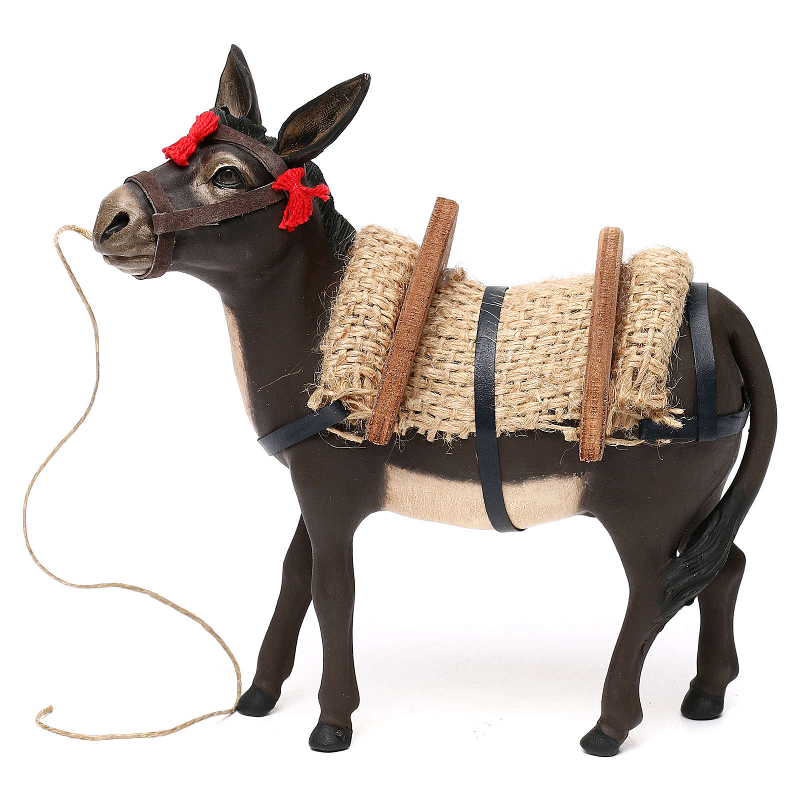 Painted donkey with glass eyes for Neapolitan Nativity scene 14 cm 4
