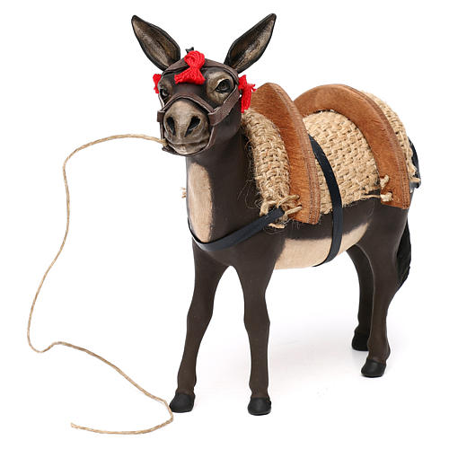 Painted donkey with glass eyes for Neapolitan Nativity scene 14 cm 3