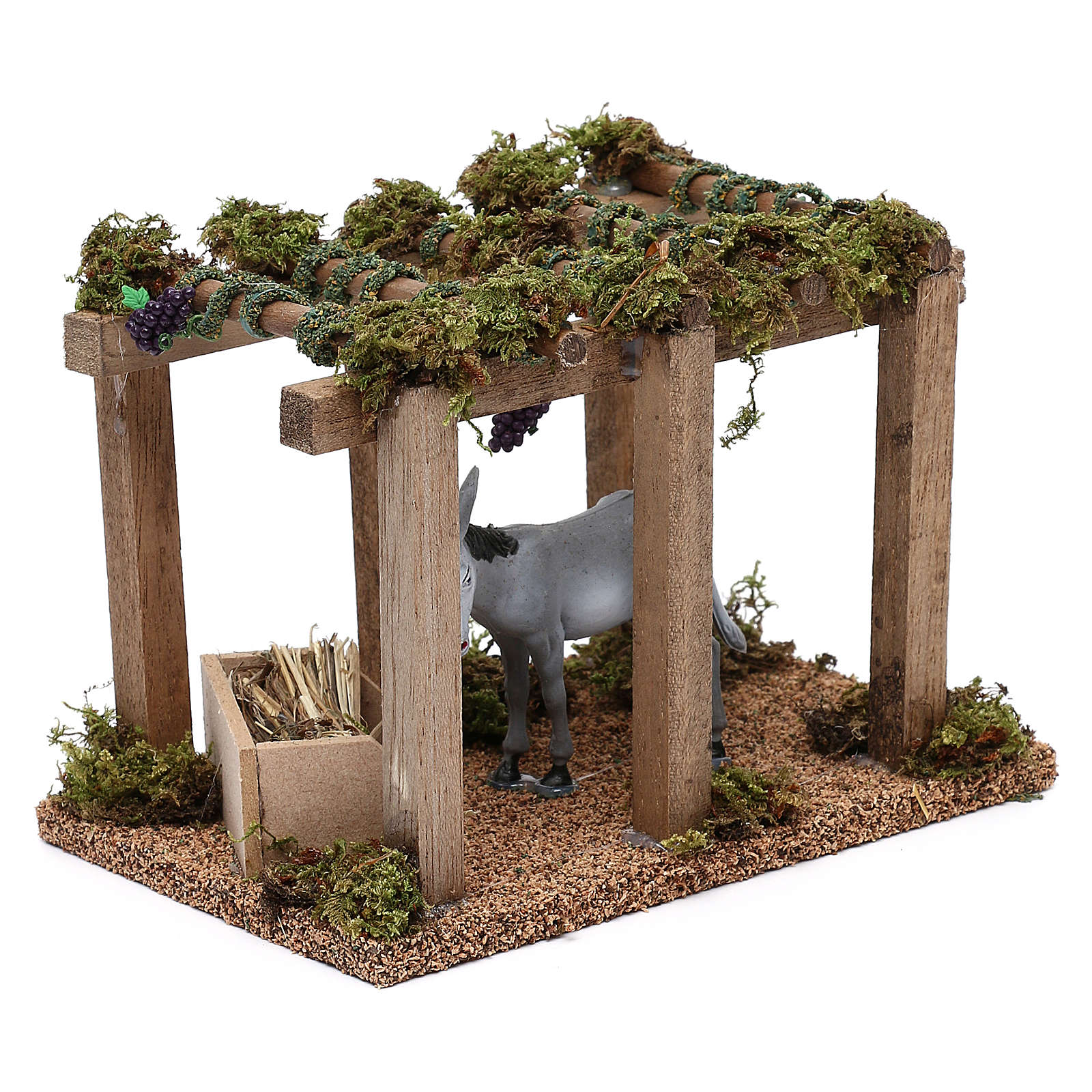 Donkey under the porch with grapes for Nativity scene 10 cm 3