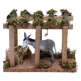 Donkey under the porch with grapes for Nativity scene 10 cm s1