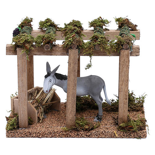 Donkey under the porch with grapes for Nativity scene 10 cm 1
