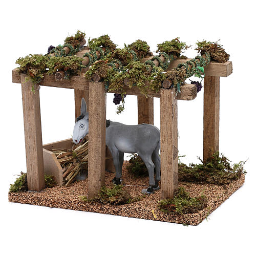 Donkey under the porch with grapes for Nativity scene 10 cm 2