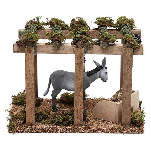Donkey under the porch with grapes for Nativity scene 10 cm 4
