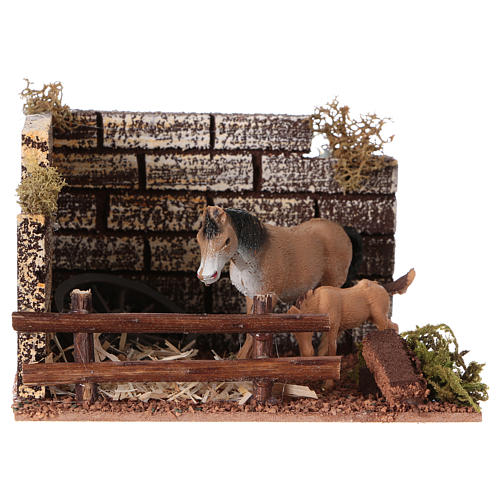 Recinto cavallo con staccionata per presepe di 12 cm 1