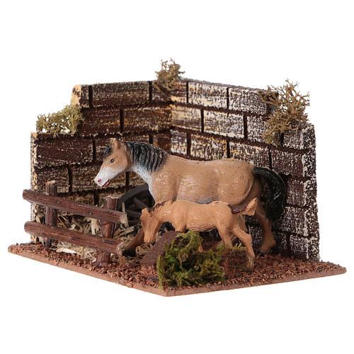 Recinto cavallo con staccionata per presepe di 12 cm 2