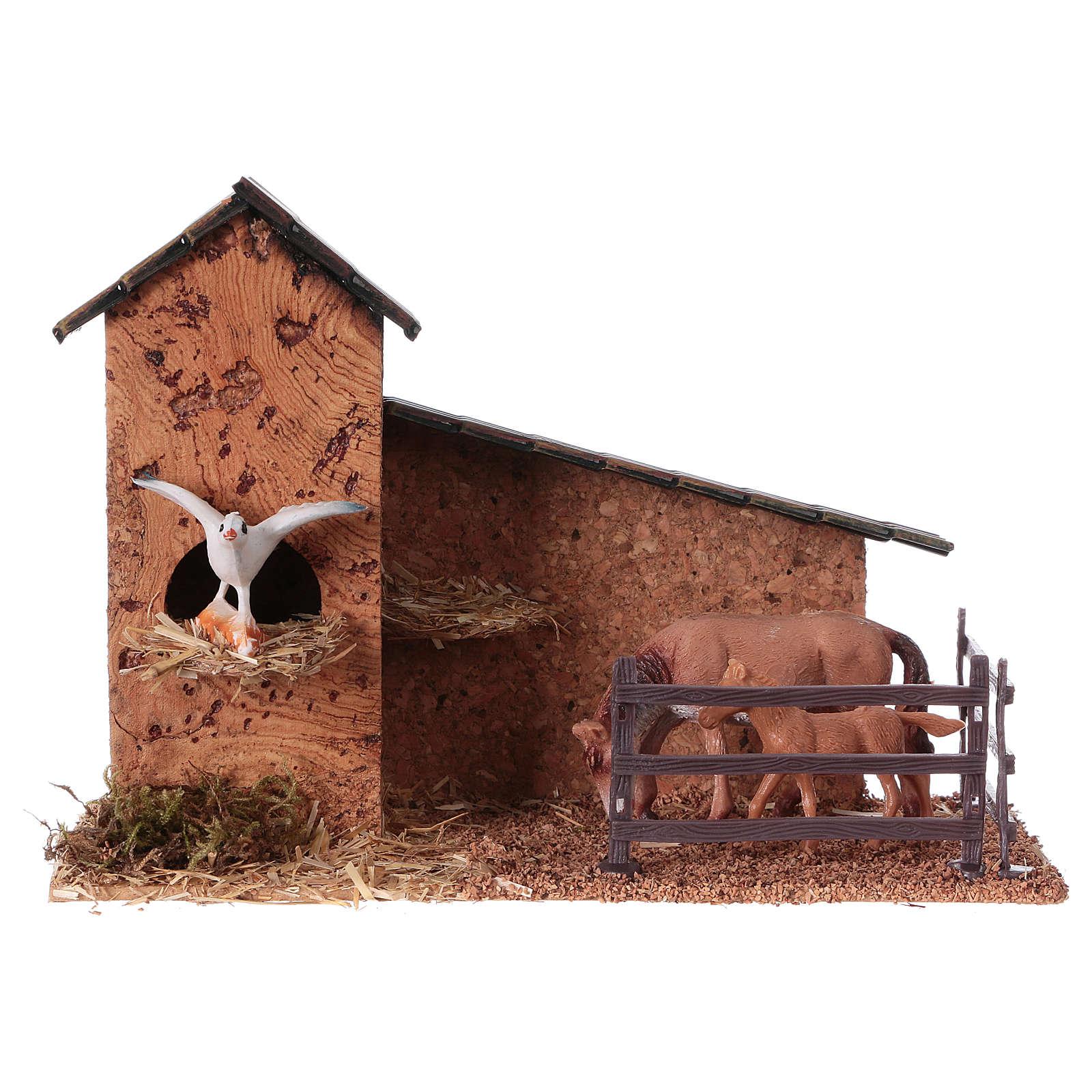 Recinto caballos y palomar para belenes de 9 cm 3
