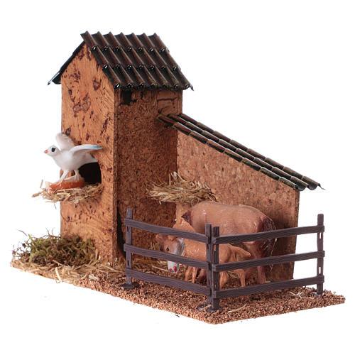 Enclos chevaux et pigeonnier pour crèche de 9 cm 2